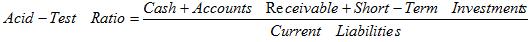 Formula for quick ratio |  Acid test ratio